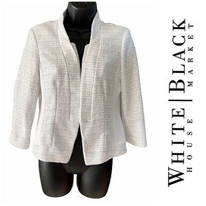 WHBM White Tweed and Sheer Blazer Jacket Size 6